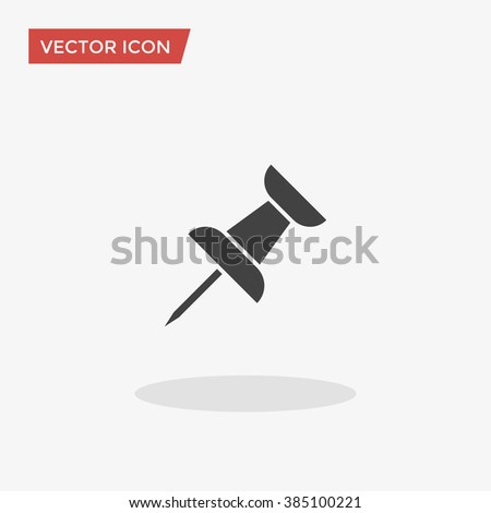 Push Pin Icon in trendy flat style isolated on grey background. Pin symbol for your web site design, logo, app, UI. Vector illustration, EPS10. - stock vector