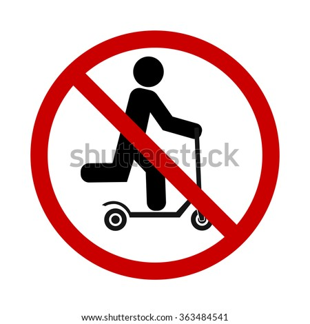 push scooter stop and forbidden sign icon - stock vector
