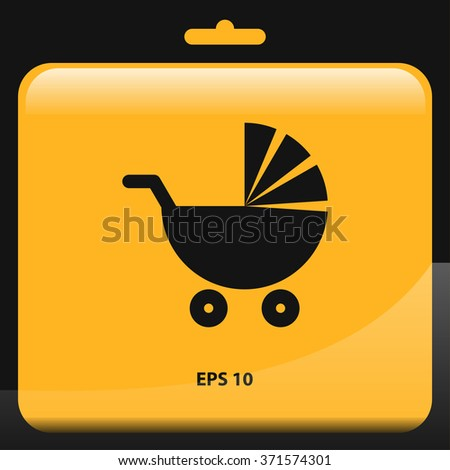 pushchair, baby pram icon for web and mobile. flat design style - stock vector