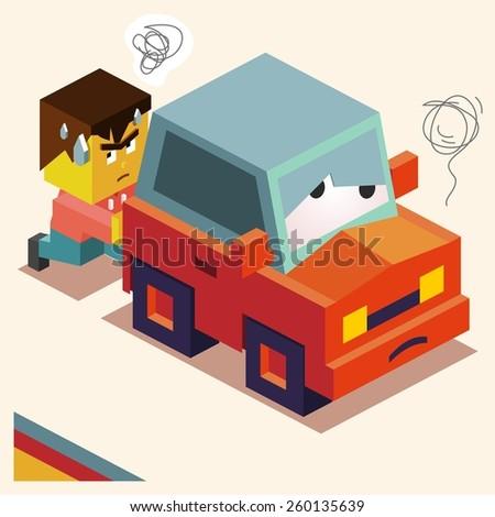 Pushing a broken down car. vector - stock vector