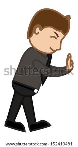 Pushing Away - Office Corporate Cartoon People - stock vector