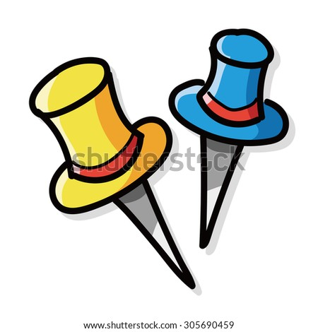 pushpin color doodle - stock vector