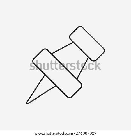 pushpin line icon - stock vector
