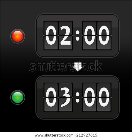 Put the clock forward one hour to daylight saving time in spring from two to three a.m. - depicted with two digital time displays and a red and green warning light. Vector on black background.