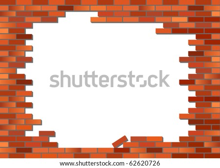 Put your text or picture behind the brick wall. Retro red brick wall vector, partly collapsed