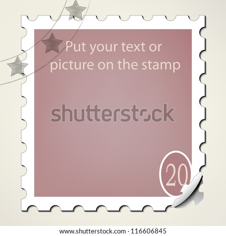 Put your text or picture on the postage stamp - stock vector
