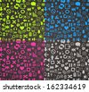 puttern pixel style icons set - stock vector