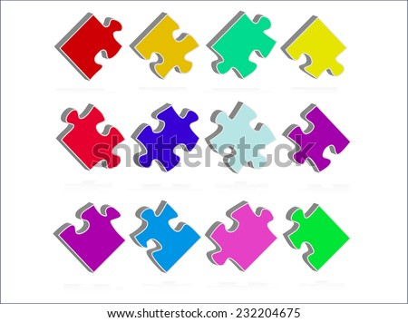 Puzzle abstract color shapes - stock vector
