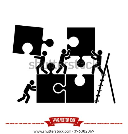 puzzle and people icon vector illustration eps10. - stock vector