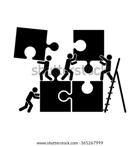 puzzle and people vector illustration, puzzle and people  icon eps10, puzzle and people  icon illustration, puzzle and people  icon flat,  puzzle and people icon drawing, puzzle and people icon - stock vector