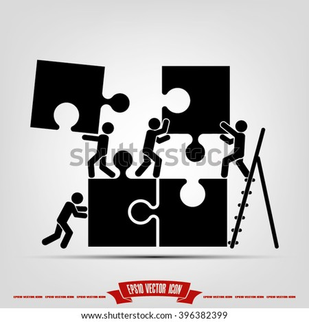 puzzle and people vector illustration, puzzle and people  icon eps10, puzzle and people  icon illustration, puzzle and people  icon flat,  puzzle and people icon drawing, puzzle  - stock vector