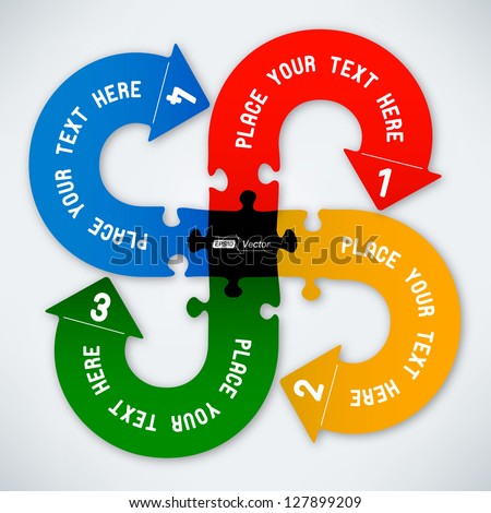 Puzzle Arrows - Spiral Colorful - stock vector