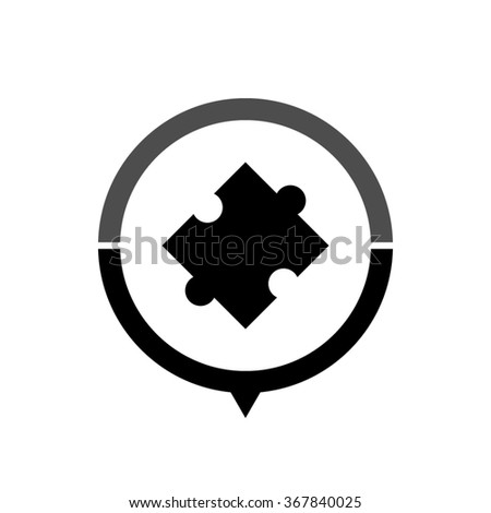 puzzle - black vector icon; map pointer;  message bubble - stock vector