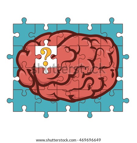 puzzle brain key human organ knowledge think imagination  vector illustration isolated