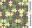 puzzle camouflage seamless pattern - stock vector
