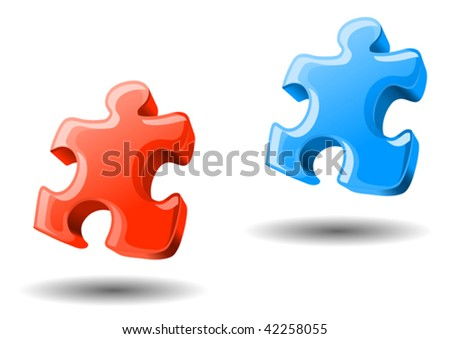 Puzzle elements in two colors for design or logo template