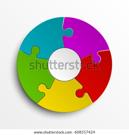Puzzle Five Color Piece Business Presentation Circle Infograph 5 Step Round Process Diagram