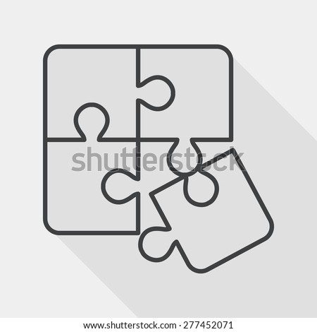 Puzzle flat icon with long shadow,EPS 10, line icon - stock vector