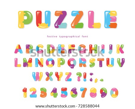 Puzzle Font ABC Colorful Creative Letters And Numbers
