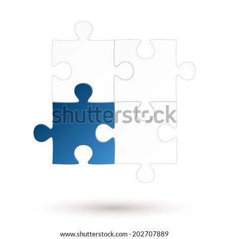 Puzzle - four parts - Blue Option - stock vector