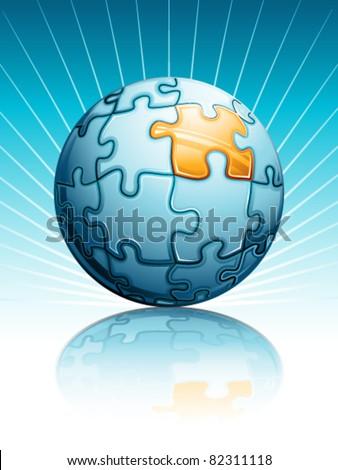 Puzzle globe - stock vector