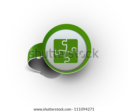 puzzle hanging sticker icon, vector - stock vector