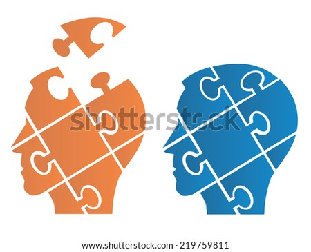 Puzzle heads symbolizing Psychology. Two Puzzle heads silhouettes  symbolizing Psychology, psychological problems.Vector illustration.  - stock vector