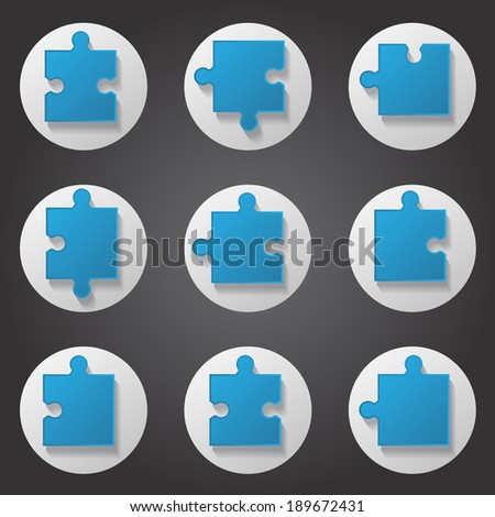 Puzzle Icons Set - Isolated On Background, Vector Illustration, Graphic Design Editable For Your Design - stock vector
