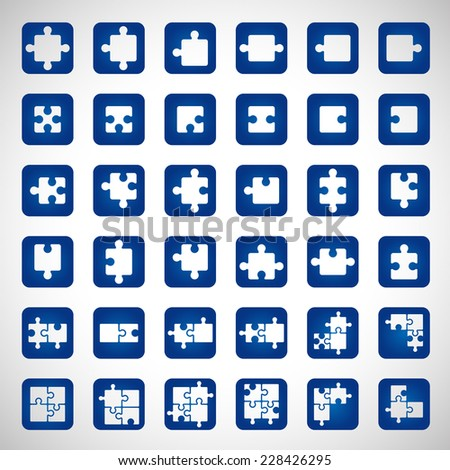 Puzzle Icons Set - Isolated On Gray Background - Vector Illustration, Graphic Design Editable For Your Design - stock vector