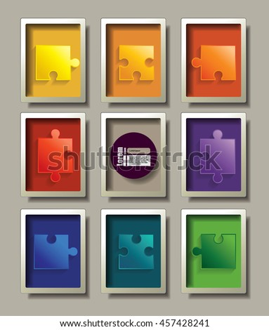puzzle in frame. Vector graphic template. - stock vector