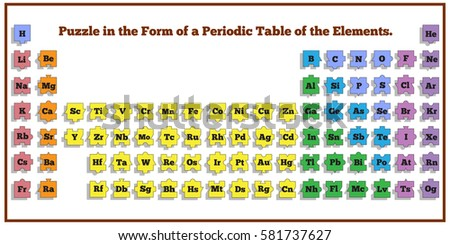 Puzzle form periodic table elements vector stock vector 2018 puzzle in the form of a periodic table of elements vector design for app game urtaz Image collections
