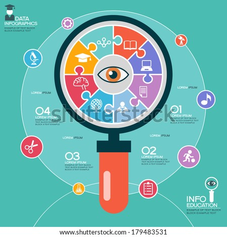Puzzle in the form of an abstract magnifying glass surrounded infographic education. Education concept with icons and text - stock vector