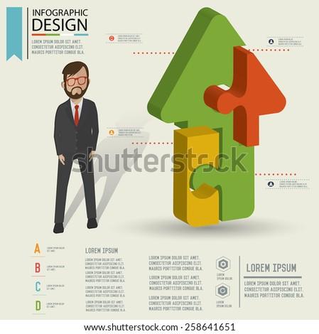 Puzzle info graphic design,Three dimension design,clean vector - stock vector