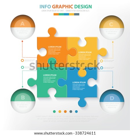 Puzzle Infographic elements design,clean vector - stock vector