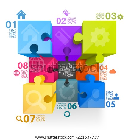 Puzzle infographics. Vector illustration - stock vector