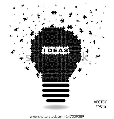 puzzle Light bulb , idea concept ,vector - stock vector