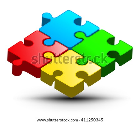 Puzzle Logo Design. Vector Colorful Jigsaw 3D Illustration. Abstract Puzzle Object. - stock vector
