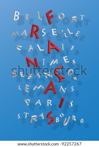 Puzzle of word France composed by name of french cities - stock vector