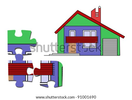 puzzle on white background, vector illustration - stock vector