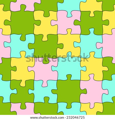 Puzzle pattern background colored - endless - stock vector