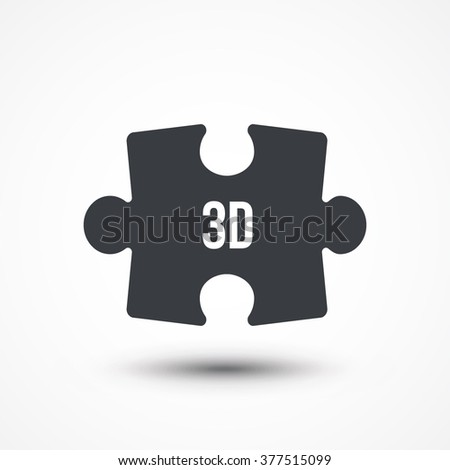 Puzzle piece. Concept image of acronym 3D as Three Dimensional. Flat icon - stock vector