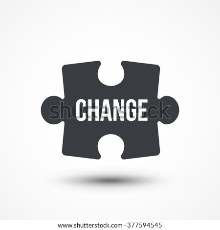 Puzzle piece. Concept image with CHANGE word. Flat icon - stock vector