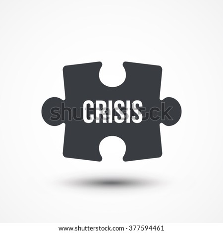 Puzzle piece. Concept image with CRISIS word. Flat icon - stock vector