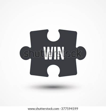 Puzzle piece. Concept image with WIN word. Flat icon - stock vector