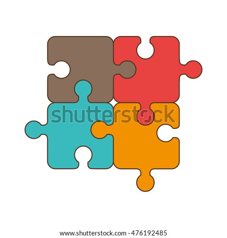 puzzle piece game jigsaw part elements complete vector illustration