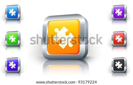 Puzzle Piece Icon on 3D Button with Metallic Rim Original Illustration - stock vector