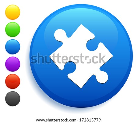 Puzzle Piece Icon on Round Button Collection - stock vector