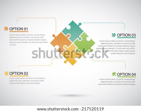 Puzzle piece infographics business - stock vector