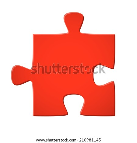 Puzzle piece red - stock vector