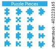 Puzzle piece set with all the possible piece form. Collection of jigsaw puzzle game pieces in blue color isolated on white background. - stock vector